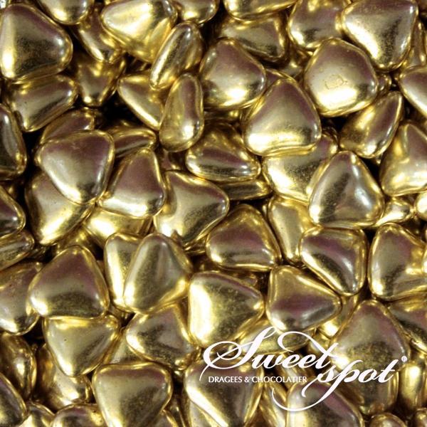 Mini Chocolate Hearts - Gold
