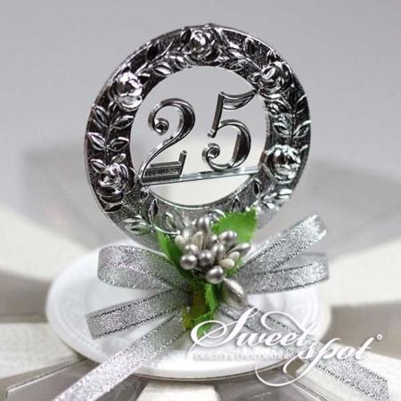 Décor de Gâteau de Mariage (Anniversaire 25 ans sur socle)