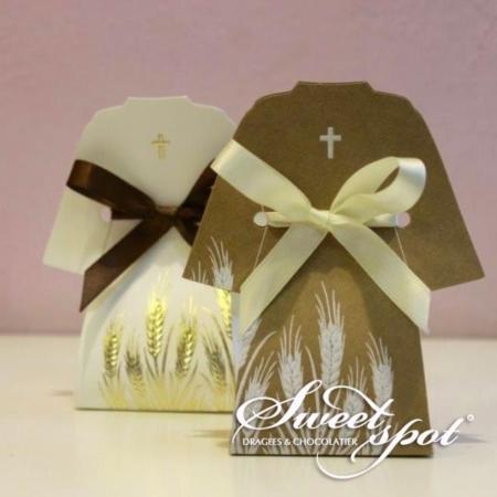 Boîte de dragées TUNICA Blanc & Avana