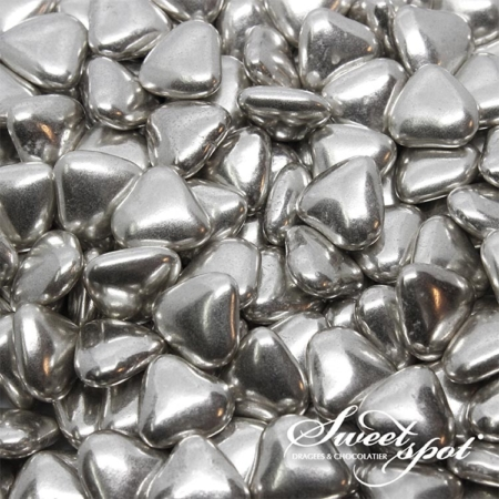 Mini Chocolate Hearts - Silver