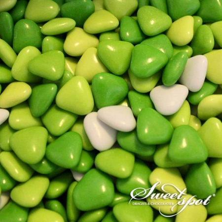 Mini Chocolate Hearts - Green
