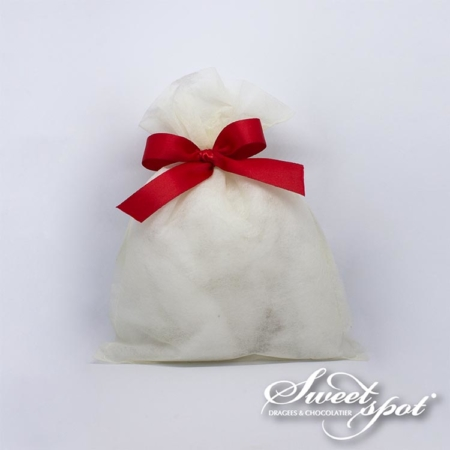 Beige Cloud Packaging with Red Acetate Ribbon