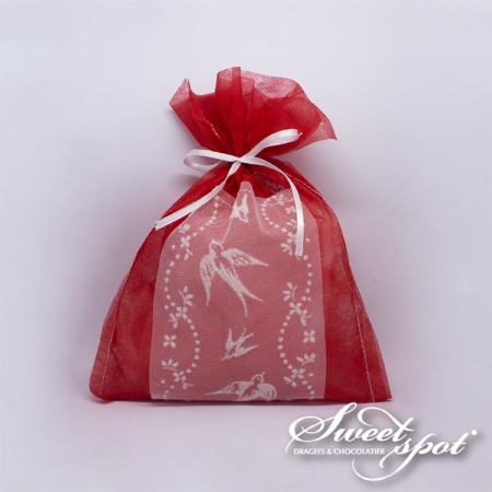 Red Packaging with White Dove Ribbon