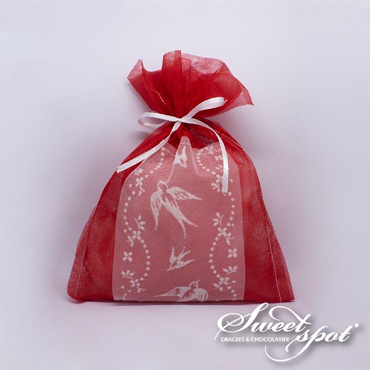 Emballage Rouge avec Ruban Colombe Blanc